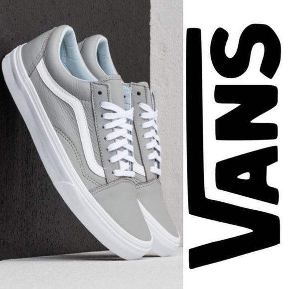 22752a619d85f3 Vans Leather Old Skool Oxford Drizzle Gray